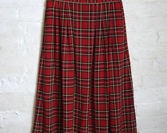 Midi Length Plaid Skirt