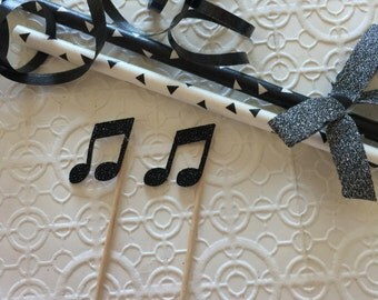 Musical Note Beam For Cupcakes or Cake Toppers  x12