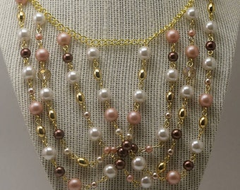 Shades of Pink Waterfall Necklace, Pink and Gold Statement Necklace, Pink Bib Necklace