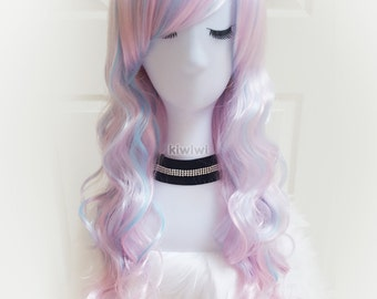 """Pastel rainbow ombre 28"""" long curly wig [Trixie] // Unicorn // Cosplay // Lolita // Anime"""
