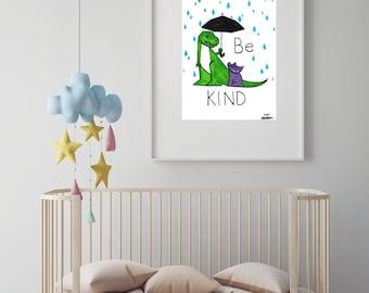 "Dinosaur illustration nursery art print//baby shower//baby gift//nursery decor//nursery wall art//dinosaur nursery//""be kind"""