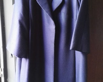 Midnight blue evening coat of barathea wool; Size 16 (?)