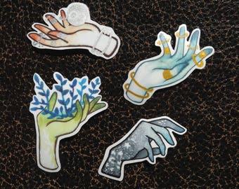 Watercolor magic hand stickers