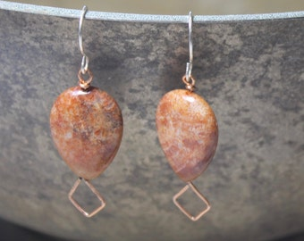Natural fossilized coral earrings