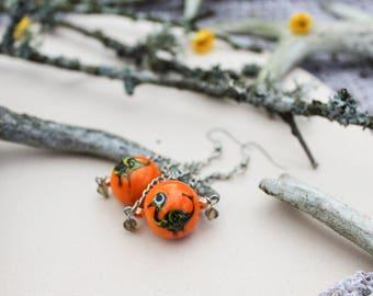 FREE SHIPPING Dino earrings Orange earrings Dangle earrings Gift for daughter Dinosaur earrings Statement earrings Ombre earrings Gift ideas