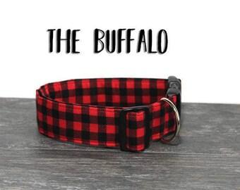 Buffalo Plaid Dog Collar, Red and Black Collar for Dogs, Boy Dog Collar, Unisex Dog Collar, Handsome Collar, Boy Dogs, Plaid Dog Collar, Dog