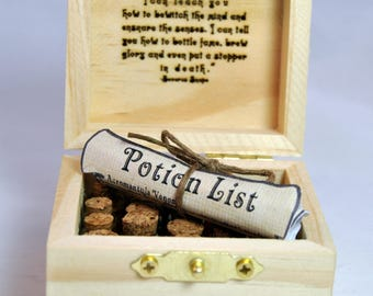 19 Mini Harry Potter Potions, Small Potion Box Gift Set, with Laser Engraved Potions Label and Snape Potions Quote