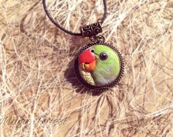3D custom parrot portrait, polymer clay necklace, parrot green ara, parrot pendant jewelry, tropic exotic bird, parrot art, parrot necklace