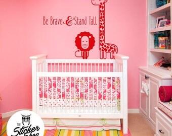 Nursery Decal - Safari Theme with Giraffe & Lion