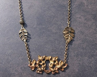 Keyhole Escutcheon Vintage Pendant Necklace; Leaf Necklace; Upcycled Jewelry
