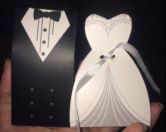 Bride and Groom Wedding Favor Boxes, Mr and Mrs Tuxedo Party Candy Wedding Favor Box, FREE white ribbons!
