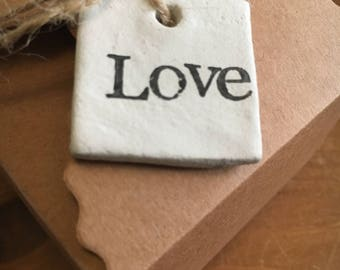Rustic clay gift tag