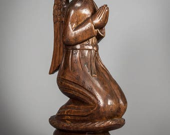 "Charming 12"" Vintage Kneeling Praying Angel Wood Carving Statue Antique Religious Figure 1"