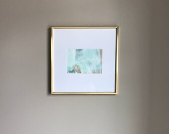 Blue and Gold Abstract Painting, Abstract Painting in Gold Frame, Abstract Wall Art, Wall Art, Abstract Art, Gold Abstract Art