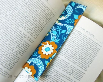 Tentacles and Flowers Bookmark - fabric book accessory, blue and mustard nautical octopus unique gift under 10, sewn marque page