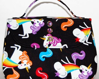 Unicorns and Rainbows Handbag - Barfing Unicorns, Unicorn Purse, Fantasy Creatures, Retro Purse, Sassy Unicorn, Boxy Bag, Harajuku Style