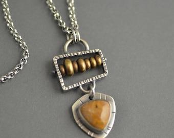 Ocean Jasper Abacus Pendant, sterling silver, mixed metal, industrial, oxidized, steampunk, metalwork, brass, small pendant, yellow jasper