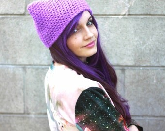 Orchid Purple Glittery Kitty Beanie - Crocheted Cat Ear Hat - More Colors Available - Handmade To Order - Vegan Friendly Acrylic Yarn
