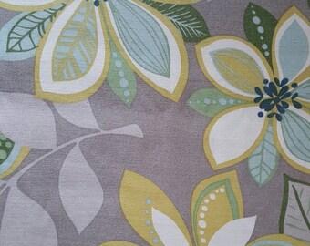 ¿Cortina de paño tela textil Vintage Retro 1950? Rayón lino gran pieza 71,75 pulg. x 70,5 en. Perfectas condiciones tapizado almohadas manualidades