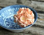 10 pcs . Pale Peach Cherry Blossoms . Small Paper Flowers Wedding Paper Flowers . Mulberry Flowers Millinery Flowers . Boutonniere Corsage