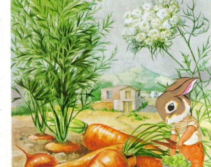 Cute Bunny Rabbit Gardener Art, Veggie Garden, Gardening Artwork