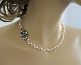 Pearl and Crystal Necklace Wedding Jewelry for Brides Vintage Style Bridal Necklace Something Blue Bridesmaid Necklace Bronze Wedding Sukran