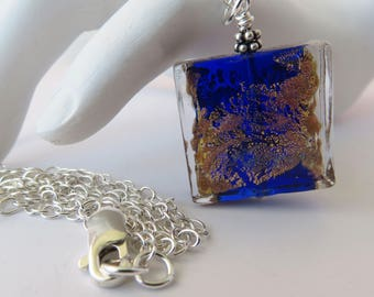 Cobalt Blue Murano Glass Pendant on Long Sterling Chain, Patches of Gold, Silver and Copper, Mother's Day Gift for Her, Venetian Glass