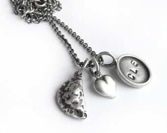 CLE Cleveland Pierogi Heart Sterling Silver Charm Necklace I Love Cleveland