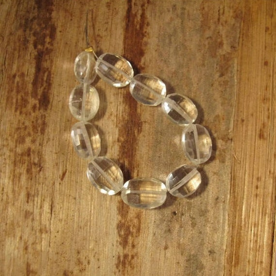 10 Crystal Beads, Sparkling Rock Crystal Quartz, Faceted Flat Ovals for Making Jewelry, 11mm x 8mm (S-Cq2a)