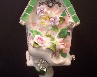 Broken China Mosaic Mixed Media Decorative Birdhouse With Bone China Flowers, Old Jewelry and Old Rusty Hinge