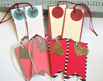 Gold, Silver embossed paper  Heart and bird gift tags,  Bird  gift tag set, red, pink blank hang tags-Quantity 8  (item #9)