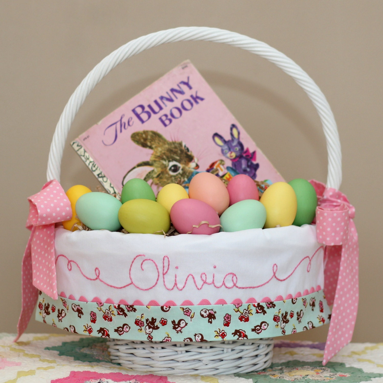 Personalized Easter Basket Easter Basket Liner Monogrammed