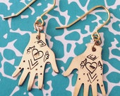 Mexican Artist Inspired Brass Hand Earrings - Hearts - Earrings - Tattoo - Milagro - Gypsy - Mexican - Dias De Los Muertos - Folk