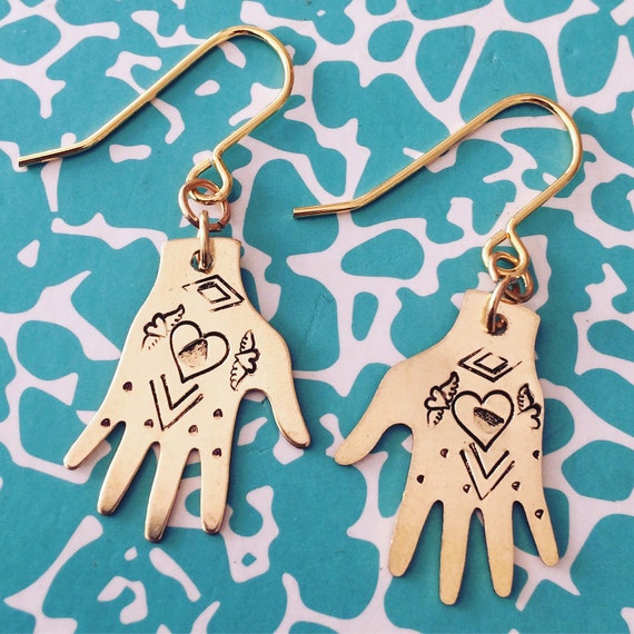 Frida Kahlo Inspired Brass Hand Earrings - Heart Design - Frida Earrings - Tattoo - Milagro - Gypsy - Mexican - Dias De Los Muertos - Folk