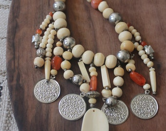 vintage 1970s hand carved wooden beaded necklace / silver coin necklace / amber necklace / tribal jewelry / tribal necklace / jewelry art