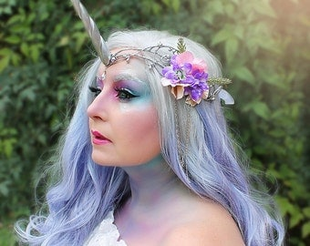 Unicorn Crown, Unicorn Headpiece, Unicorn Headdress, Silver, Wedding, Costume Accessory, Fantasy, Festival, Halloween, MLP, My Little Pony