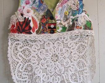 GREEN VINTAGE LINENS -  Wearable Fabric Collage Folk Art Vest - Altered Clothing - myBonny random scraps