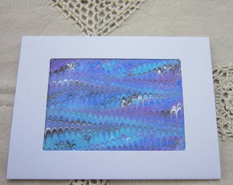 Lilac and Teal - Hand Marbled Blank Frame Card (A7)