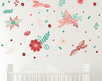 Printed Pink Flowers Wall Quotes Wall Art Decal Faux Wallpaper Flower Decals Girl Girly Nursery Kids Room Play Room Flowers