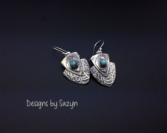 Earrings, silver, tribal, artisan, shield, handmade,  Dangle earrings,  turquoise stones