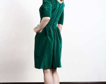 SALE Green Velvet Holiday Dress Mid Century Cocktail