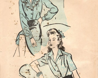 1940s Advance 3229 FF Vintage Sewing Pattern Misses Blouse, Shirt Size 16 Bust 34
