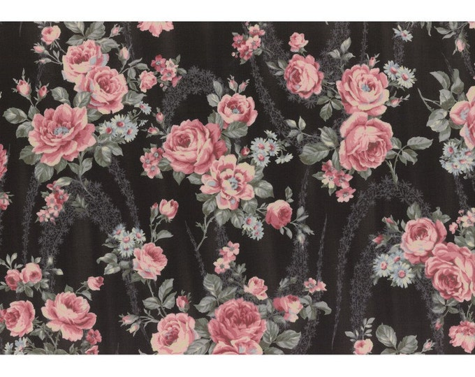 Antique Rose vintage inspired floral fabric - Lecien Japan - Rose  L31297-100 Black, select a length