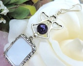 Wedding bouquet photo charm - Purple Pearl Angel photo charm. Bridal bouquet charm. Memorial Photo charm. Bridal shower gift for a bride.