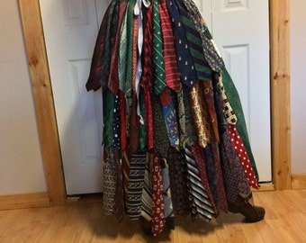 Long Maxi Silk Skirt/Womens Bustle Skirt/Recycled Necktie Skirt/Upcycled Repurposed/Christmas Print Ties/Adjusts Size Medium Large