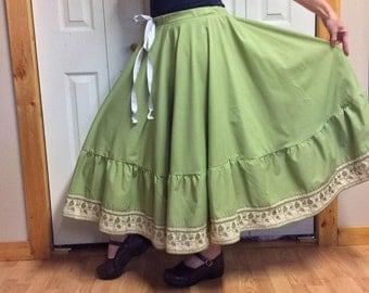 Green Circle Skirt/Full Circle Skirt/Cotton Midi Skirt/Square Dance Skirt/Folk/Prairie Skirt/Upcycled Recycled Repurposed/Womens Size Large