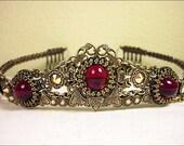 Ruby Red Tiara, Custom Tiara, Medieval Wedding, Bridal Headpiece, Renaissance Wedding, Handfasting, Ren Faire, Lucia, SCA, Choose Your Color