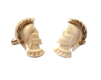 Carved Bone Cufflinks, Swank Hand Carved Soldiers, Ox Bone Cufflinks, Vintage Men's Jewelry, 1960s S Mark Swank Designer Signed Cufflinks