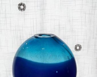 Hand Blown Glass,Flat Sided Vase,Cobalt Blue ,Aqua
