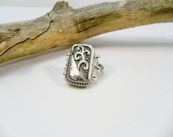Silver Stretch Band Ring, Antique Silver Ring, Silver Cocktail Ring, Elastic Band Ring, Crystal Ring, Stretchy Ring
